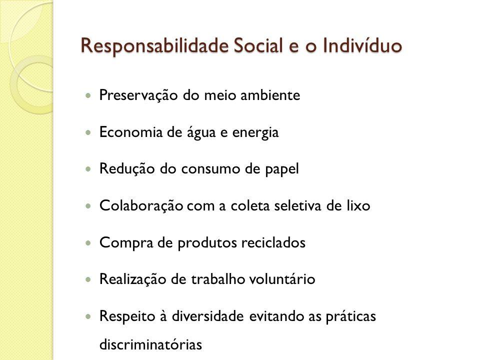 Responsabilidade Social e o Indivíduo Preservação do meio ambiente Economia de água e energia Redução do consumo de papel Colaboração com a coleta sel