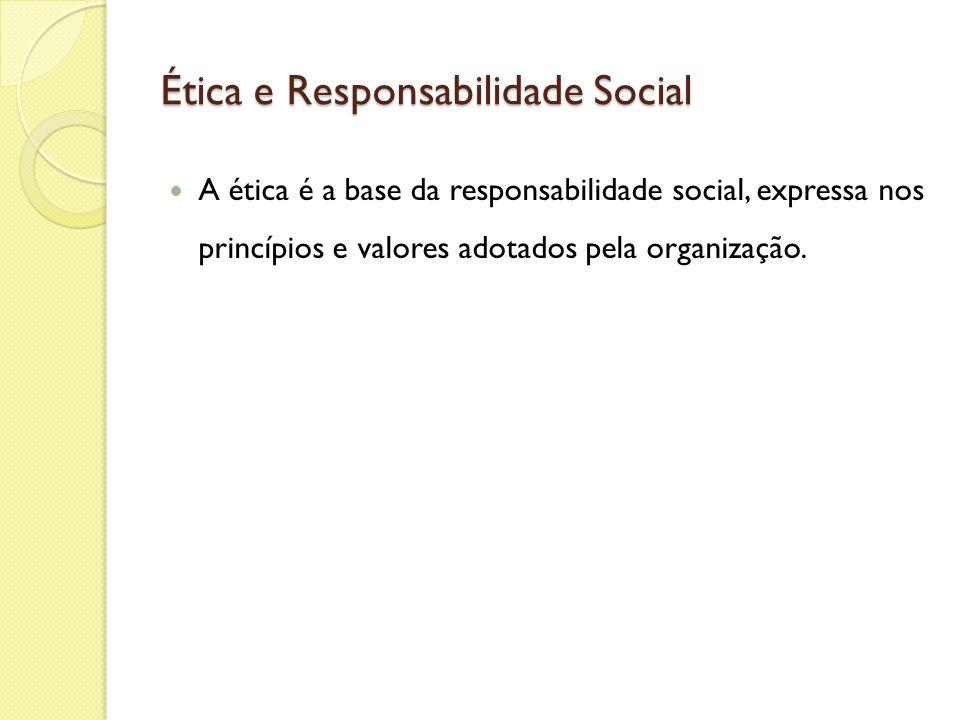 Ética e Responsabilidade Social A ética é a base da responsabilidade social, expressa nos princípios e valores adotados pela organização.