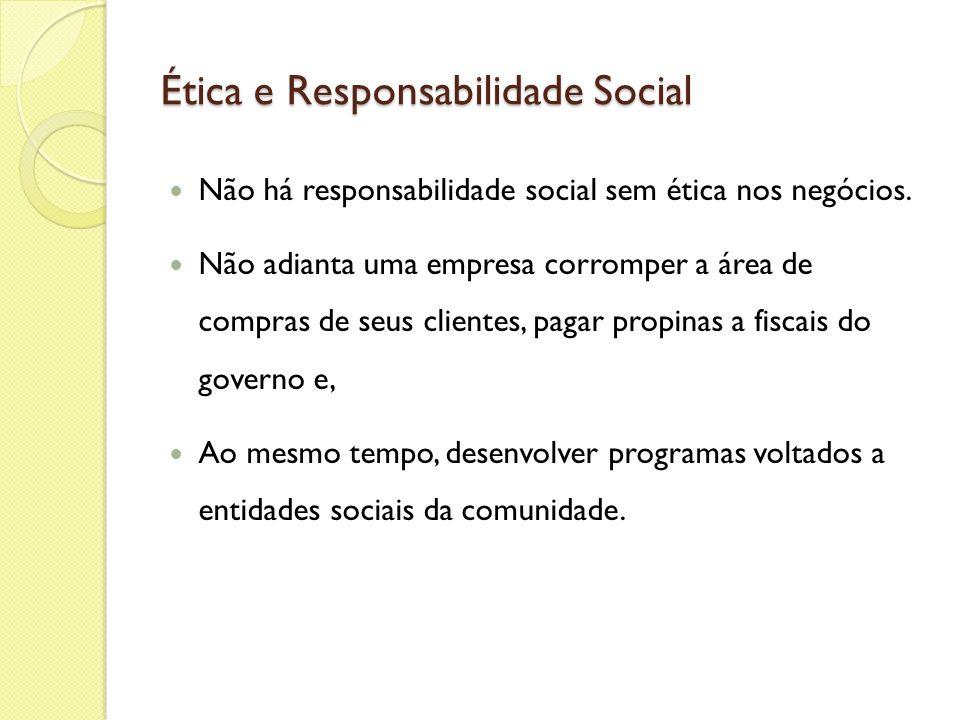 Ética e Responsabilidade Social Não há responsabilidade social sem ética nos negócios. Não adianta uma empresa corromper a área de compras de seus cli
