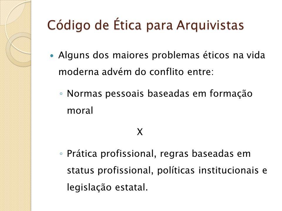 Código de Ética para Arquivistas As políticas institucionais devem ajudar os arquivistas em seus esforços de conduzir-se de acordo com este código As instituições, com o auxílio de seus arquivistas, devem deliberadamente adotar as políticas que se compatibilizem com os princípios do código.