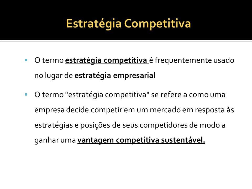 O termo estratégia competitiva é frequentemente usado no lugar de estratégia empresarial O termo