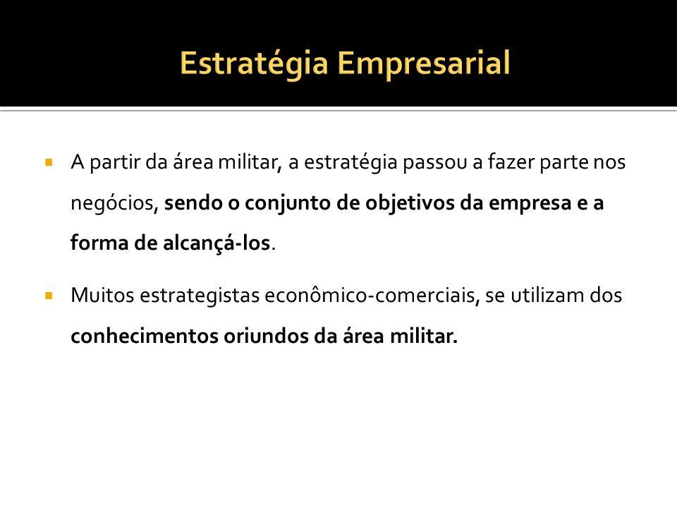 A partir da área militar, a estratégia passou a fazer parte nos negócios, sendo o conjunto de objetivos da empresa e a forma de alcançá-los. Muitos es