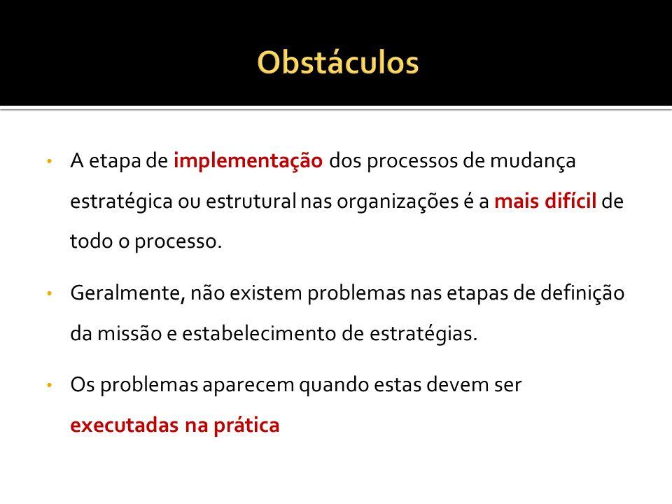 A etapa de implementação dos processos de mudança estratégica ou estrutural nas organizações é a mais difícil de todo o processo. Geralmente, não exis