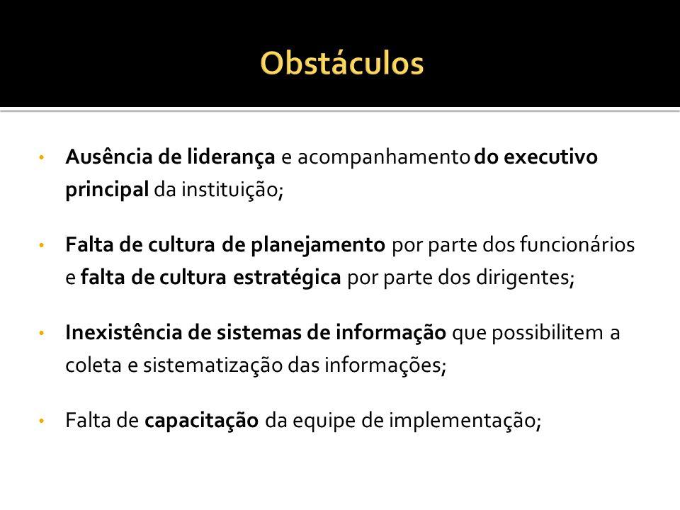 Ausência de liderança e acompanhamento do executivo principal da instituição; Falta de cultura de planejamento por parte dos funcionários e falta de c