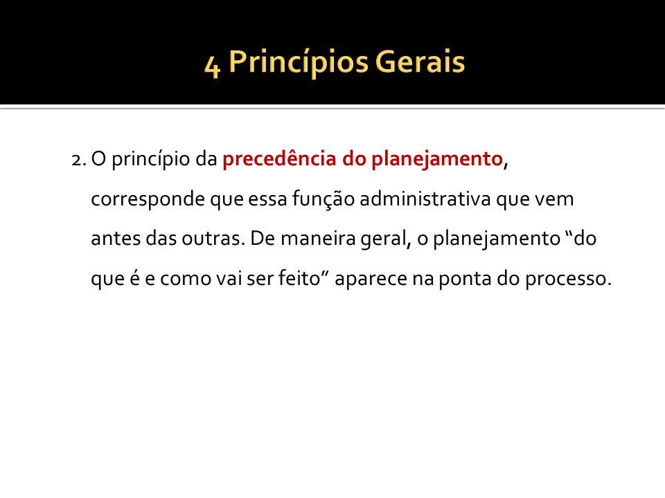 2.O princípio da precedência do planejamento, corresponde que essa função administrativa que vem antes das outras. De maneira geral, o planejamento do