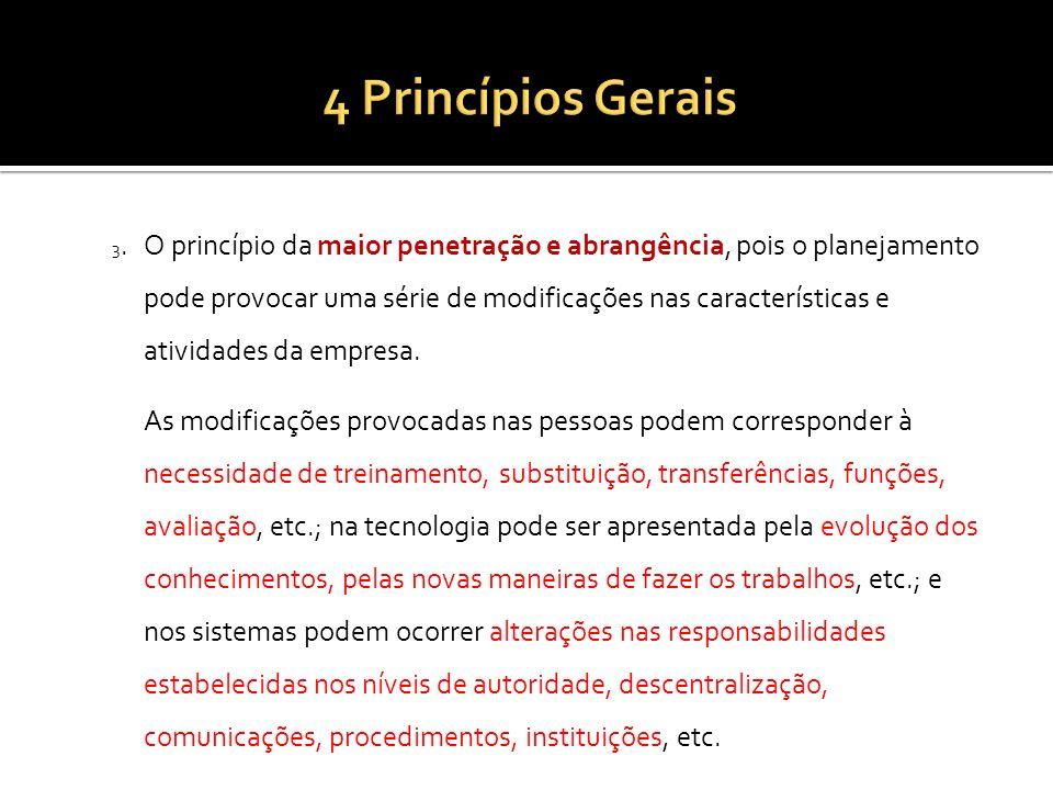 3.O princípio da maior penetração e abrangência, pois o planejamento pode provocar uma série de modificações nas características e atividades da empre