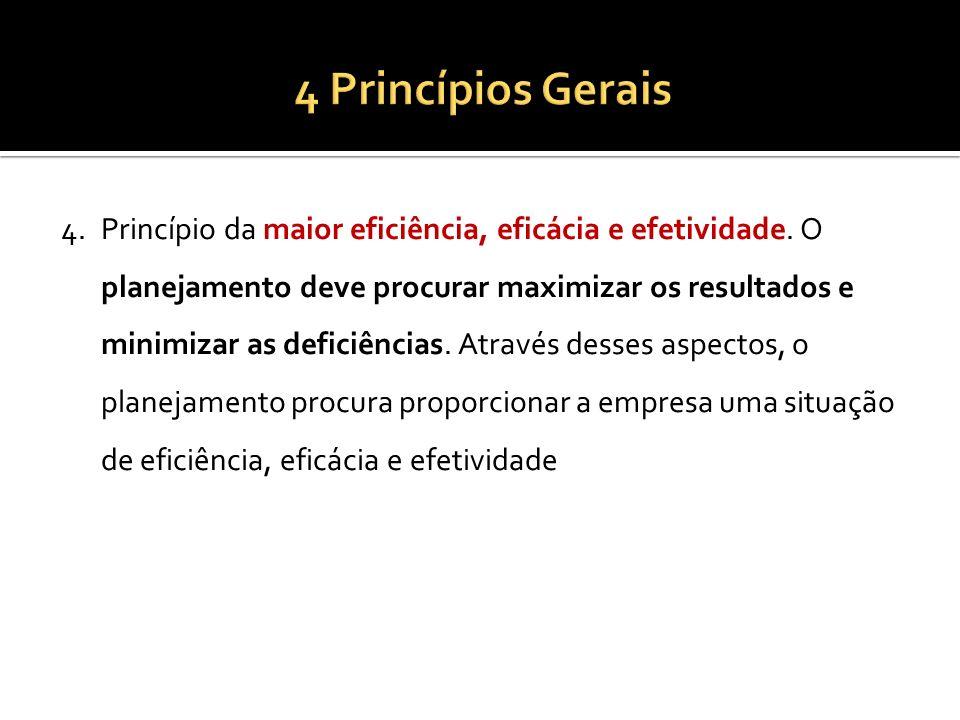 4.Princípio da maior eficiência, eficácia e efetividade. O planejamento deve procurar maximizar os resultados e minimizar as deficiências. Através des