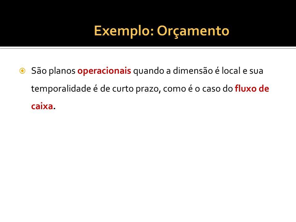 São planos operacionais quando a dimensão é local e sua temporalidade é de curto prazo, como é o caso do fluxo de caixa.