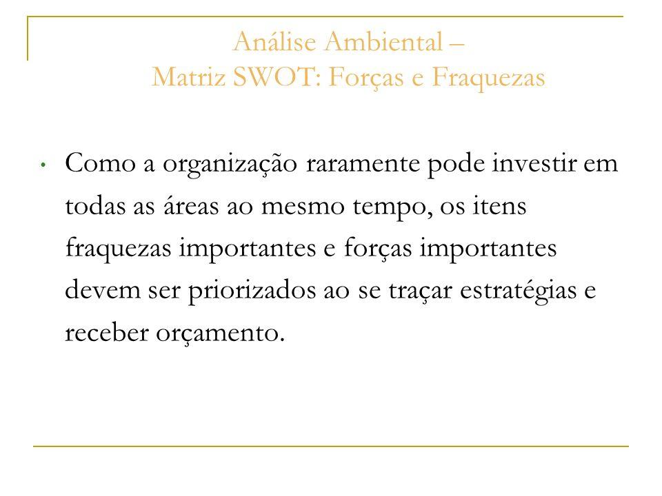 Análise Ambiental – Matriz SWOT: Forças e Fraquezas Como a organização raramente pode investir em todas as áreas ao mesmo tempo, os itens fraquezas im