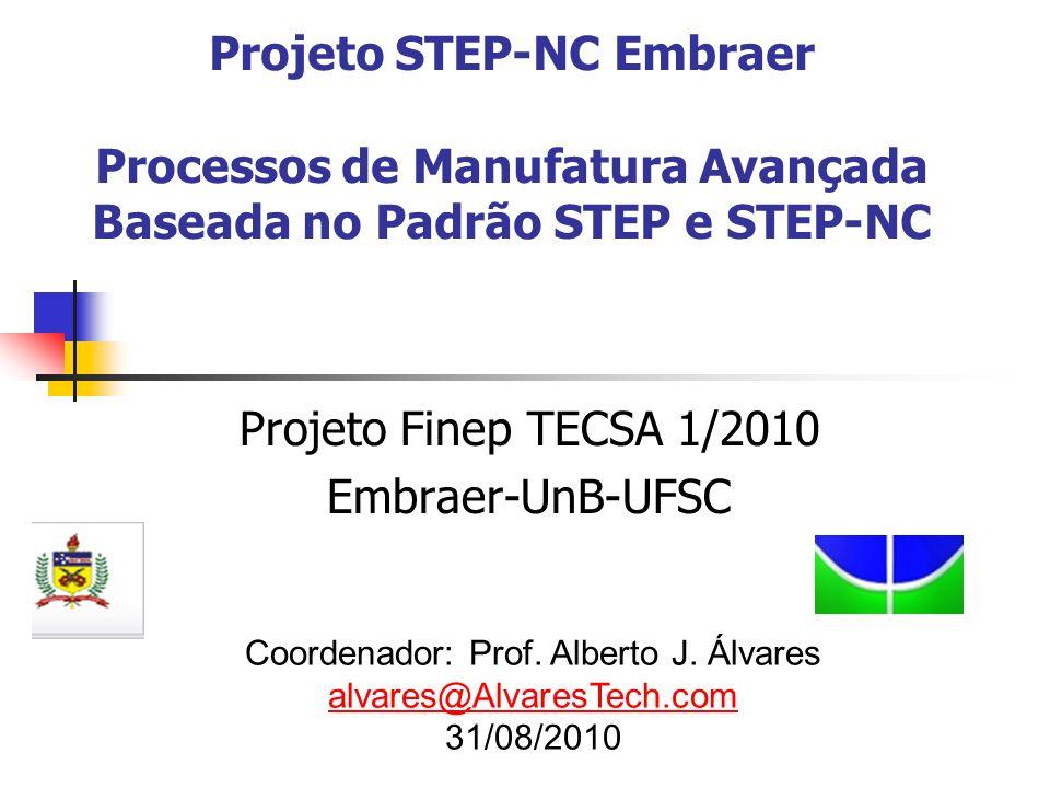 Projeto STEP-NC Embraer Processos de Manufatura Avançada Baseada no Padrão STEP e STEP-NC Projeto Finep TECSA 1/2010 Embraer-UnB-UFSC Coordenador: Pro