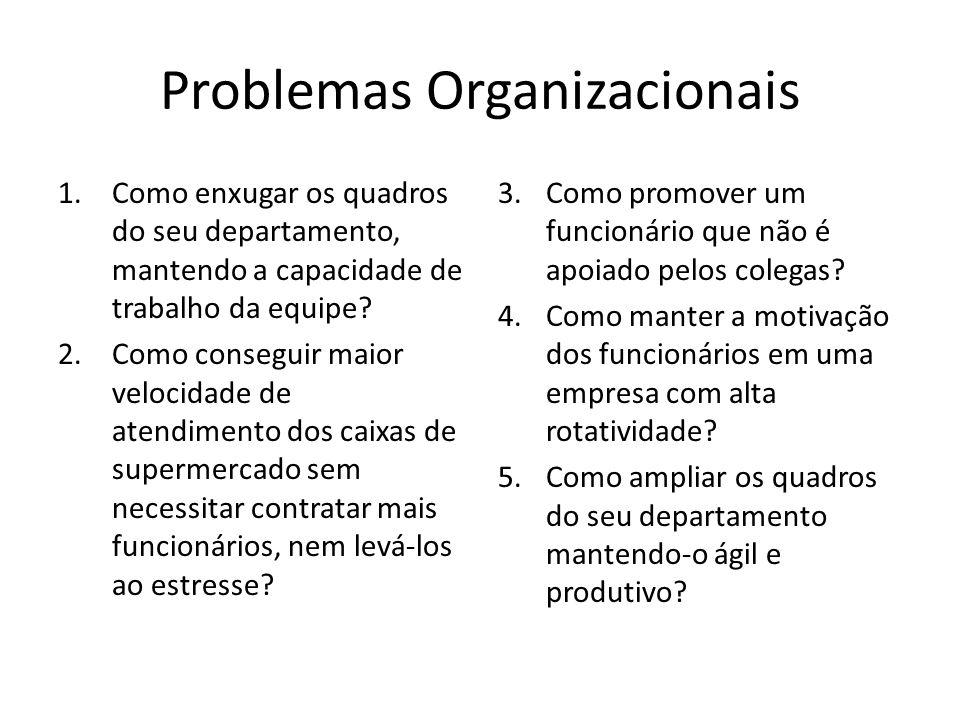 Problemas Organizacionais 1.Como enxugar os quadros do seu departamento, mantendo a capacidade de trabalho da equipe? 2.Como conseguir maior velocidad