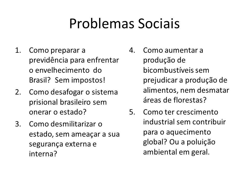 Problemas Sociais 1.Como preparar a previdência para enfrentar o envelhecimento do Brasil? Sem impostos! 2.Como desafogar o sistema prisional brasilei