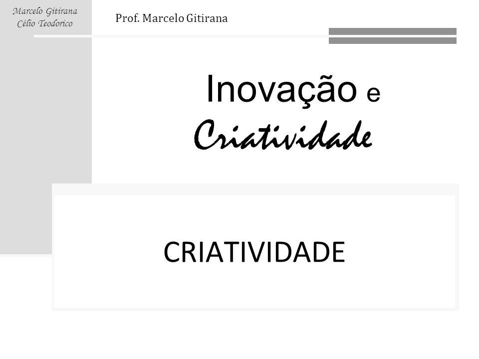 Inovação e Criatividade Marcelo Gitirana Célio Teodorico CRIATIVIDADE Prof. Marcelo Gitirana