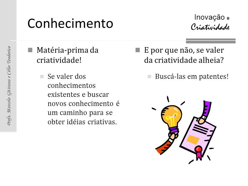 Profs. Marcelo Gitirana e Célio Teodorico Inovação e Criatividade Conhecimento Matéria-prima da criatividade! Se valer dos conhecimentos existentes e