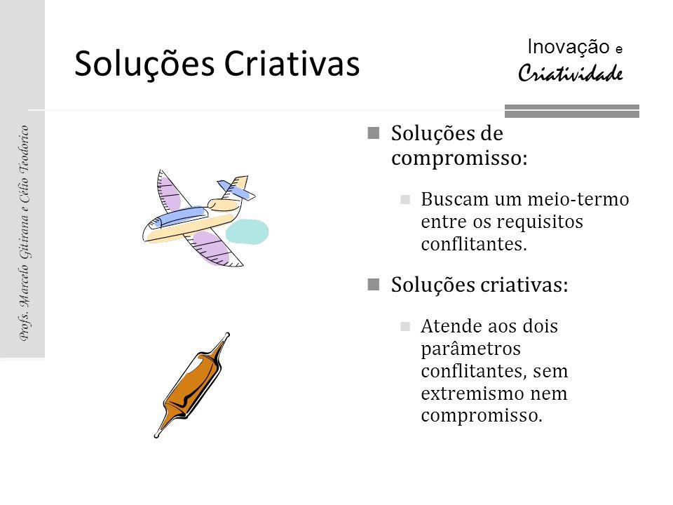 Profs. Marcelo Gitirana e Célio Teodorico Inovação e Criatividade Soluções Criativas Soluções de compromisso: Buscam um meio-termo entre os requisitos