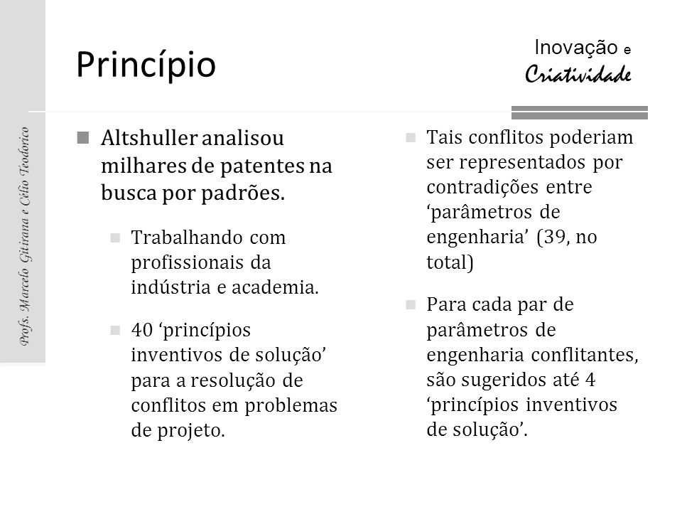 Profs. Marcelo Gitirana e Célio Teodorico Inovação e Criatividade Princípio Altshuller analisou milhares de patentes na busca por padrões. Trabalhando