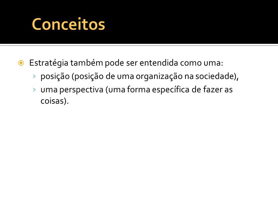 Estratégia também pode ser entendida como uma: posição (posição de uma organização na sociedade), uma perspectiva (uma forma específica de fazer as co