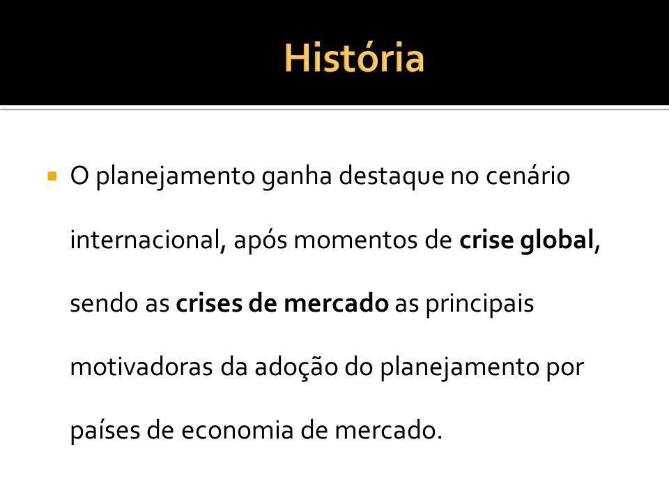 O planejamento ganha destaque no cenário internacional, após momentos de crise global, sendo as crises de mercado as principais motivadoras da adoção