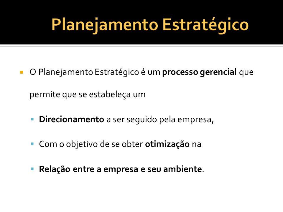 O Planejamento Estratégico é um processo gerencial que permite que se estabeleça um Direcionamento a ser seguido pela empresa, Com o objetivo de se ob
