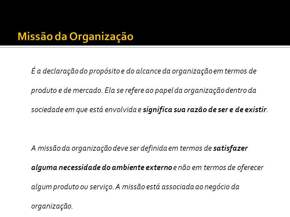 É a declaração do propósito e do alcance da organização em termos de produto e de mercado. Ela se refere ao papel da organização dentro da sociedade e