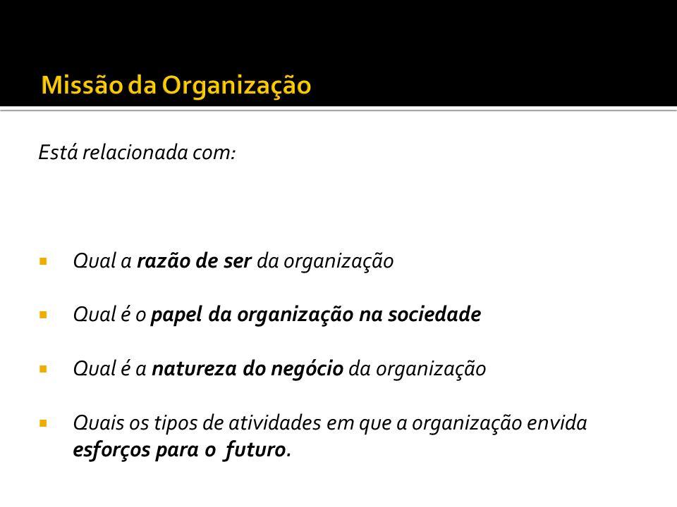 Está relacionada com: Qual a razão de ser da organização Qual é o papel da organização na sociedade Qual é a natureza do negócio da organização Quais