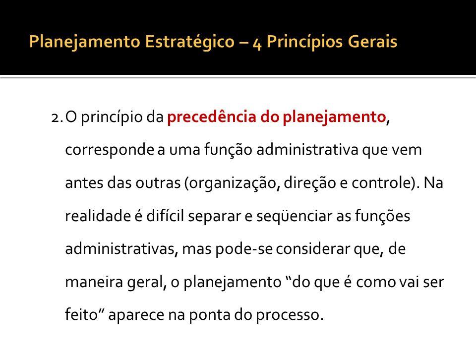 3.O princípio da maior penetração e abrangência, pois o planejamento pode provocar uma série de modificações nas características e atividades da empresa.