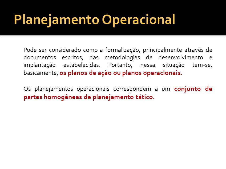 Cada um dos planejamentos operacionais devem conter com detalhes: Os recursos necessários para o seu desenvolvimento e implantação; Os procedimentos básicos a serem adotados; Os produtos ou resultados finais esperados; Os prazos estabelecidos; Os responsáveis pela sua execução e implantação.