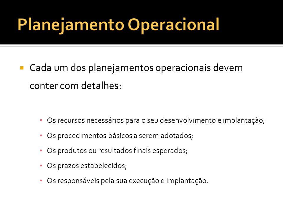 O planejamento operacional cria condições para a adequada realização dos trabalhos diários da empresa.
