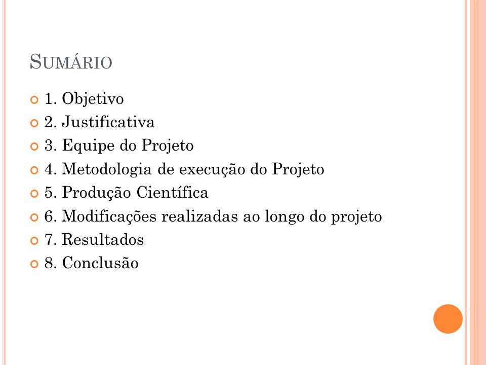 S UMÁRIO 1. Objetivo 2. Justificativa 3. Equipe do Projeto 4. Metodologia de execução do Projeto 5. Produção Científica 6. Modificações realizadas ao