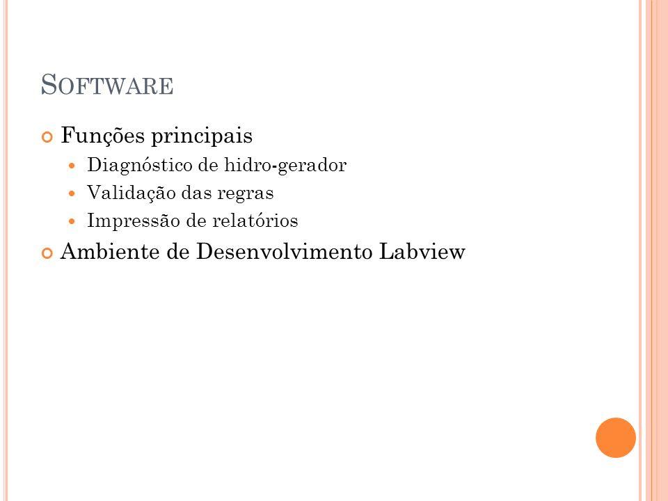 S OFTWARE Funções principais Diagnóstico de hidro-gerador Validação das regras Impressão de relatórios Ambiente de Desenvolvimento Labview