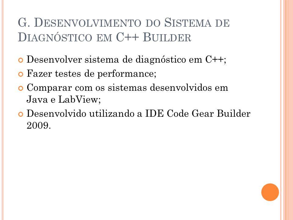 G. D ESENVOLVIMENTO DO S ISTEMA DE D IAGNÓSTICO EM C++ B UILDER Desenvolver sistema de diagnóstico em C++; Fazer testes de performance; Comparar com o