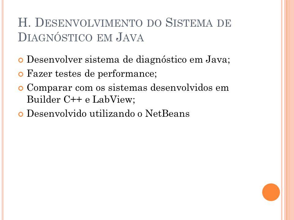 H. D ESENVOLVIMENTO DO S ISTEMA DE D IAGNÓSTICO EM J AVA Desenvolver sistema de diagnóstico em Java; Fazer testes de performance; Comparar com os sist