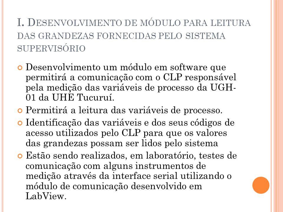 I. D ESENVOLVIMENTO DE MÓDULO PARA LEITURA DAS GRANDEZAS FORNECIDAS PELO SISTEMA SUPERVISÓRIO Desenvolvimento um módulo em software que permitirá a co