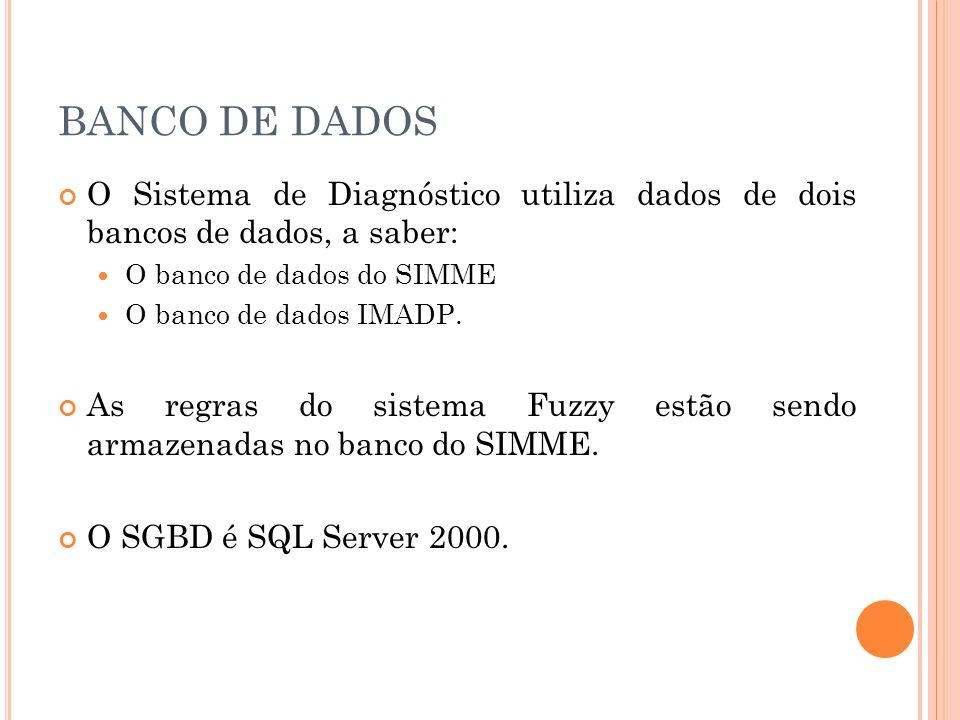 BANCO DE DADOS O Sistema de Diagnóstico utiliza dados de dois bancos de dados, a saber: O banco de dados do SIMME O banco de dados IMADP. As regras do