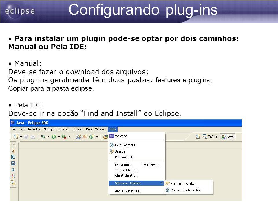 Configurando plug-ins Para instalar um plugin pode-se optar por dois caminhos: Manual ou Pela IDE; Manual: Deve-se fazer o download dos arquivos; Os p