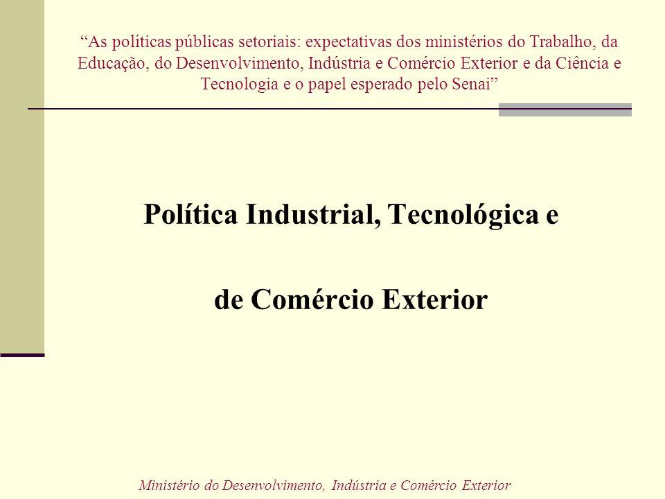 As políticas públicas setoriais: expectativas dos ministérios do Trabalho, da Educação, do Desenvolvimento, Indústria e Comércio Exterior e da Ciência e Tecnologia e o papel esperado pelo Senai Política Industrial, Tecnológica e de Comércio Exterior Ministério do Desenvolvimento, Indústria e Comércio Exterior