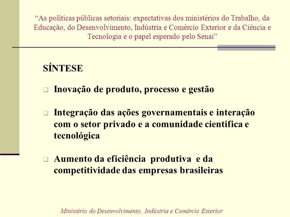 As políticas públicas setoriais: expectativas dos ministérios do Trabalho, da Educação, do Desenvolvimento, Indústria e Comércio Exterior e da Ciência
