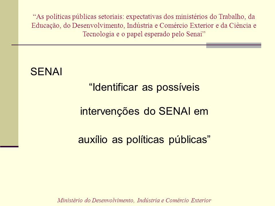 SENAI Identificar as possíveis intervenções do SENAI em auxílio as políticas públicas As políticas públicas setoriais: expectativas dos ministérios do