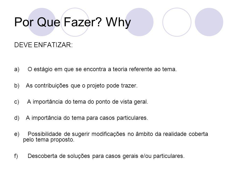 Por Que Fazer? Why DEVE ENFATIZAR: a) O estágio em que se encontra a teoria referente ao tema. b) As contribuições que o projeto pode trazer. c) A imp