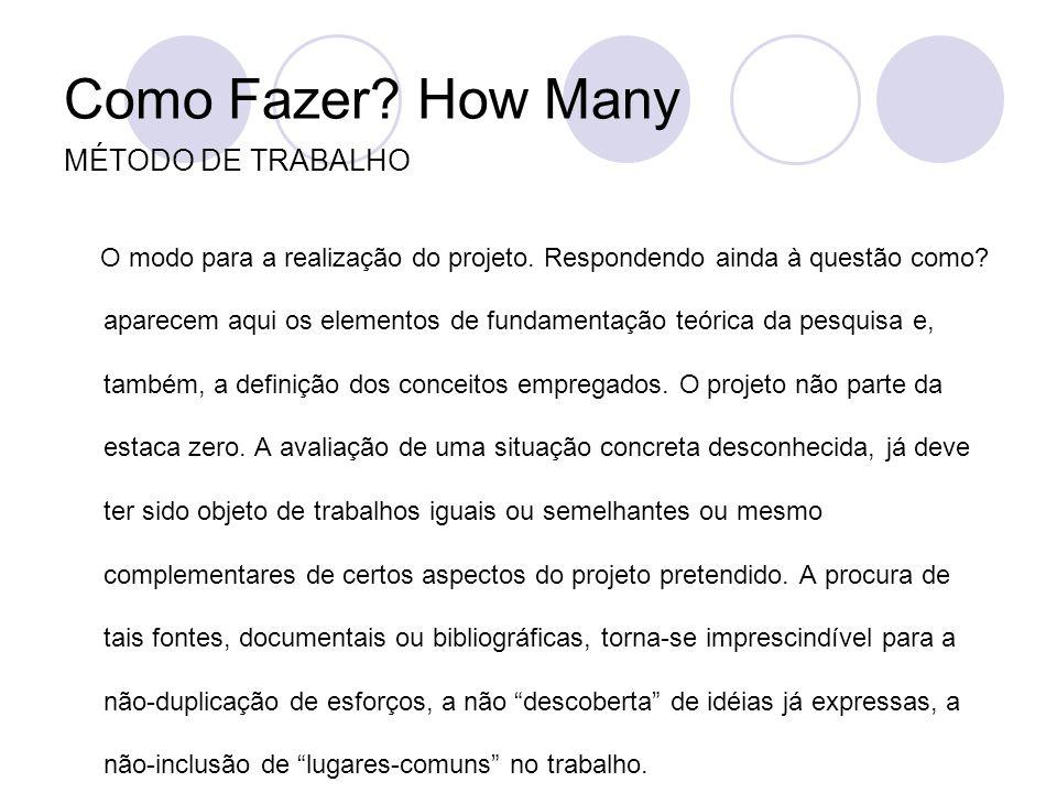 Como Fazer? How Many MÉTODO DE TRABALHO O modo para a realização do projeto. Respondendo ainda à questão como? aparecem aqui os elementos de fundament