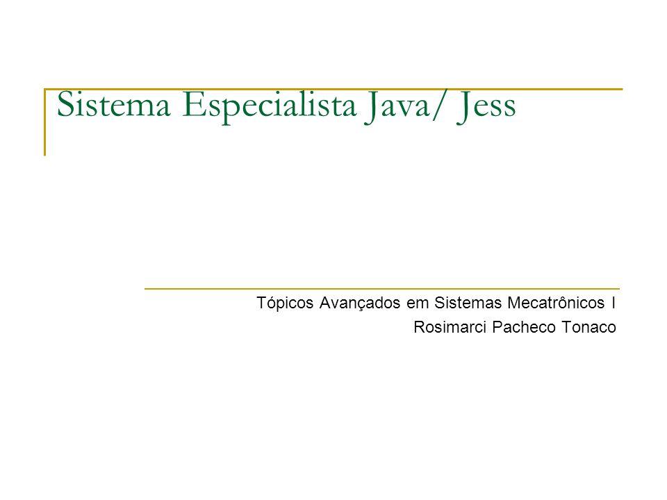 Sistema Especialista Java/ Jess Tópicos Avançados em Sistemas Mecatrônicos I Rosimarci Pacheco Tonaco