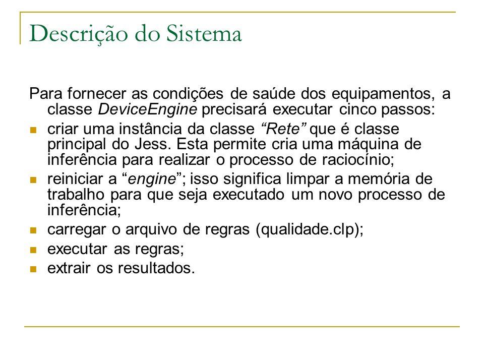 Descrição do Sistema Para fornecer as condições de saúde dos equipamentos, a classe DeviceEngine precisará executar cinco passos: criar uma instância