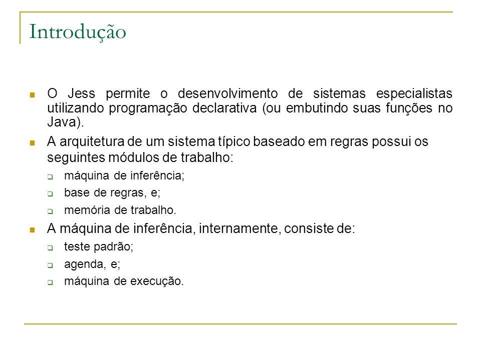 Introdução O Jess permite o desenvolvimento de sistemas especialistas utilizando programação declarativa (ou embutindo suas funções no Java). A arquit