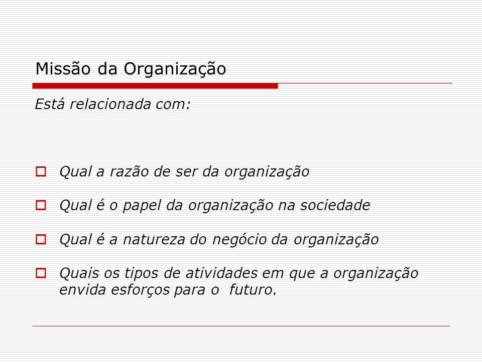 Missão da Organização Está relacionada com: Qual a razão de ser da organização Qual é o papel da organização na sociedade Qual é a natureza do negócio