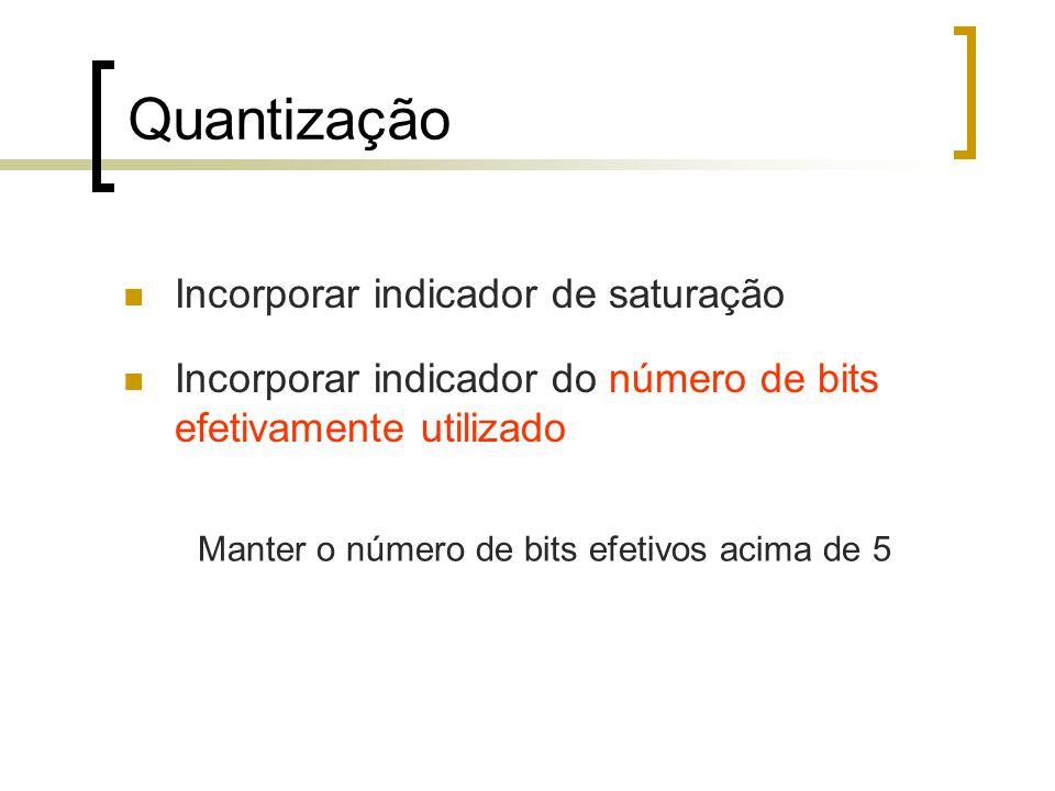 Incorporar indicador de saturação Incorporar indicador do número de bits efetivamente utilizado Manter o número de bits efetivos acima de 5 Quantizaçã