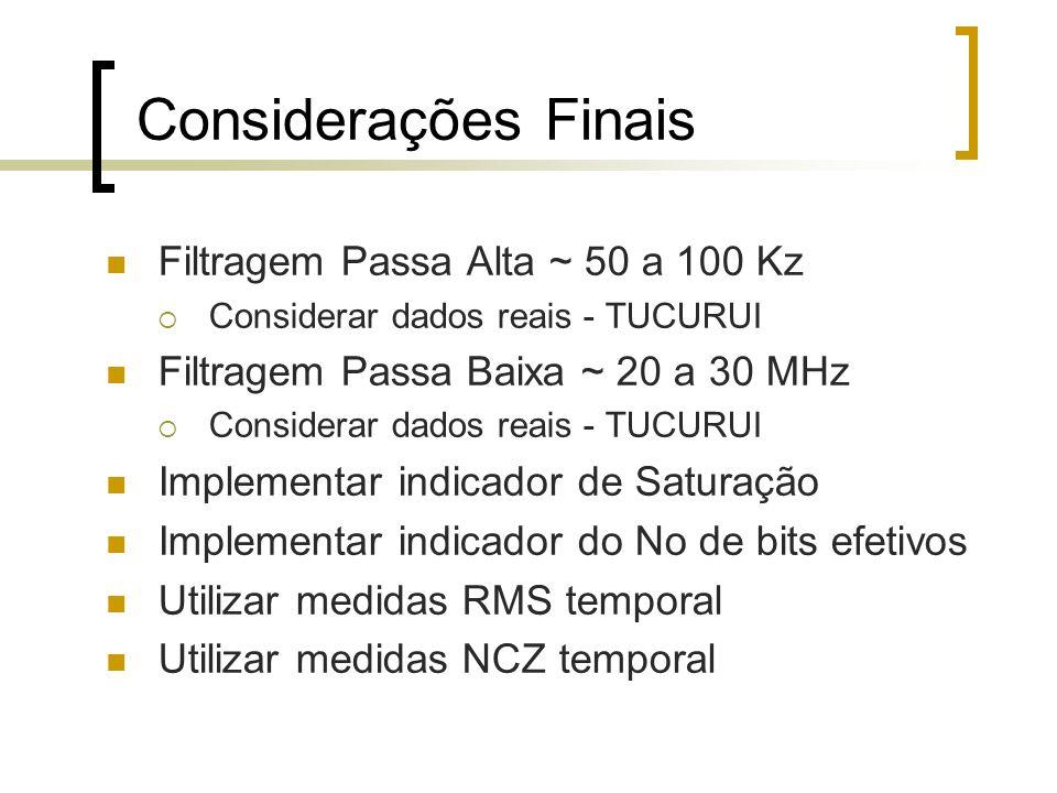 Considerações Finais Filtragem Passa Alta ~ 50 a 100 Kz Considerar dados reais - TUCURUI Filtragem Passa Baixa ~ 20 a 30 MHz Considerar dados reais -