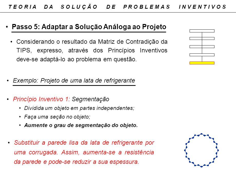 Passo 5: Adaptar a Solução Análoga ao Projeto Considerando o resultado da Matriz de Contradição da TIPS, expresso, através dos Princípios Inventivos d