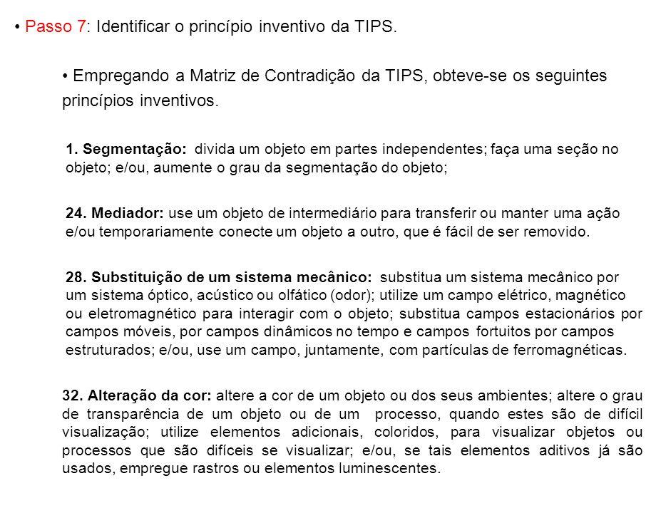 Passo 7: Identificar o princípio inventivo da TIPS. Empregando a Matriz de Contradição da TIPS, obteve-se os seguintes princípios inventivos. 1. Segme