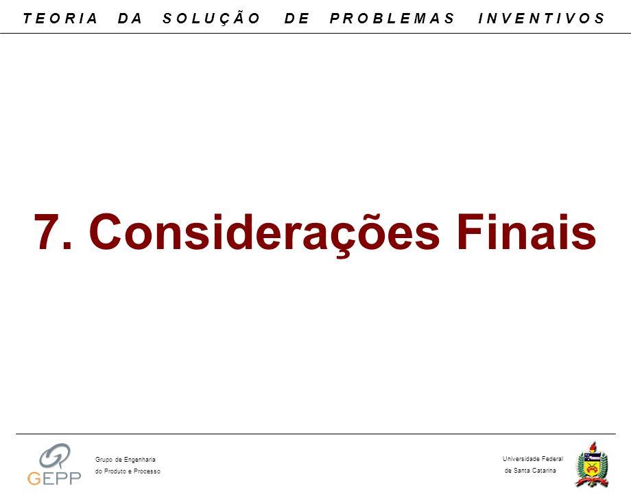 7. Considerações Finais T E O R I A D A S O L U Ç Ã O D E P R O B L E M A S I N V E N T I V O S Universidade Federal de Santa Catarina Grupo de Engenh