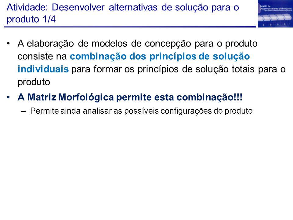 Atividade: Desenvolver alternativas de solução para o produto 1/4 A elaboração de modelos de concepção para o produto consiste na combinação dos princ